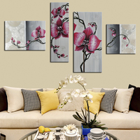 Hand Painted Exquisite Oil Painting Group Beautiful 4 Panel Red Flower Canvas Pop Art Decorative Picture for Living Room Decor