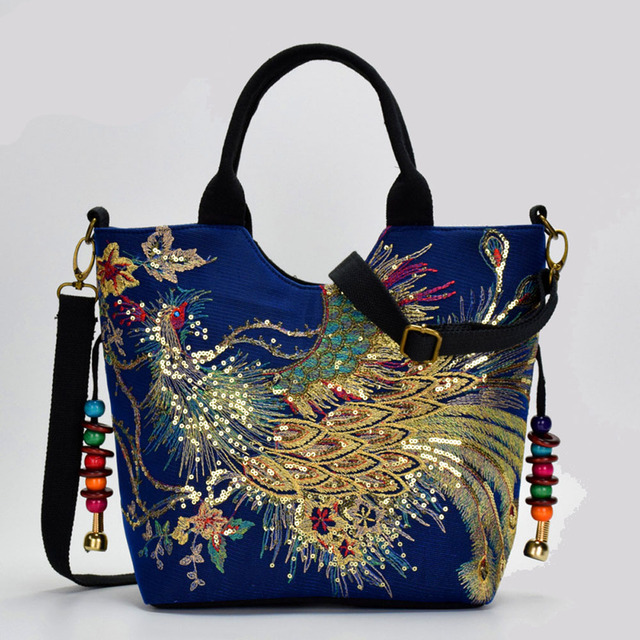 Canvas Women Handbag National Phoenix Embroidered Shoulder Totes Messenger Bag Leisure Crossbody Beach Travel Bag 3