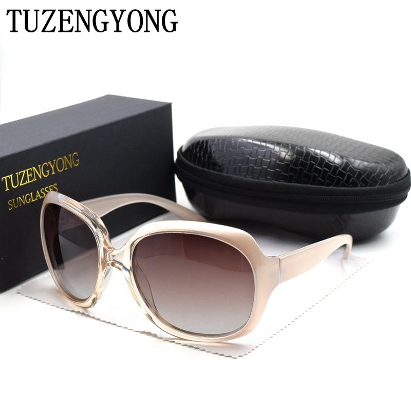 TUZENGYONG Solbriller Kvinner Brand Designer Oversized Frame Vintage Girls Oculos De Sol Polarized Sun Glasses With Case