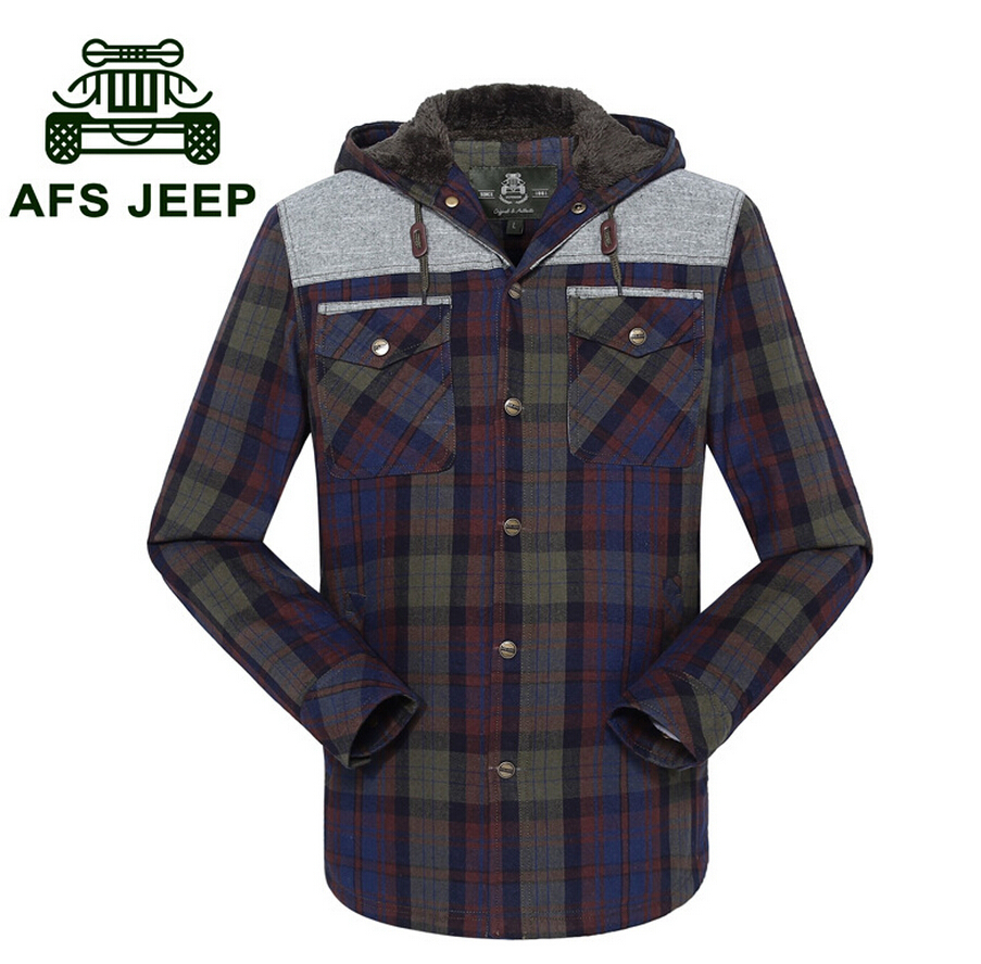 AFS JEEP 100%Cotton Real Men Coat,Cashmere Lining Thickness Cardigan Jacket,Mens Casual Plaid Hooded casual Clothes,New Design