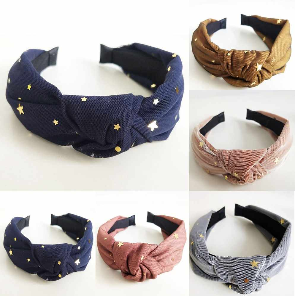 1Pcs Women Knot Hairbands Headbands Girl Star Mesh Wide Hair Band Hair Accessories Fashion Sweet Girls Cute Headbands