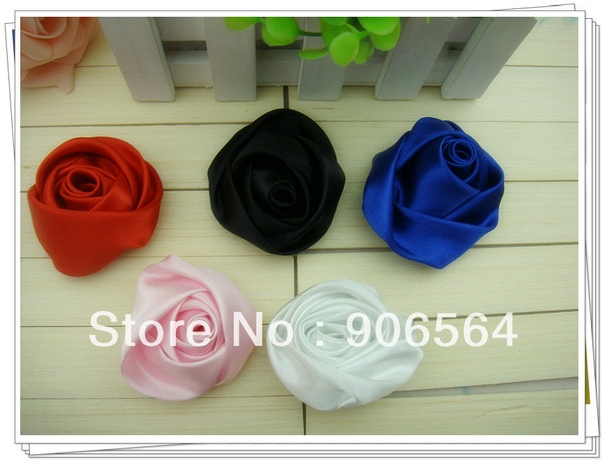 Wholesale DIY 100% Handmade Beauty Satin Rose Puff Flowers