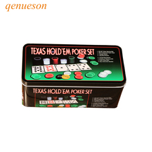 Nuevo Hot Deal Super 200 Juego de Poker Holdem de Texas Bargaining Juego de Fichas de Poker Blackjack Table Cloth Persianas Dealer Poker Cards qenueson