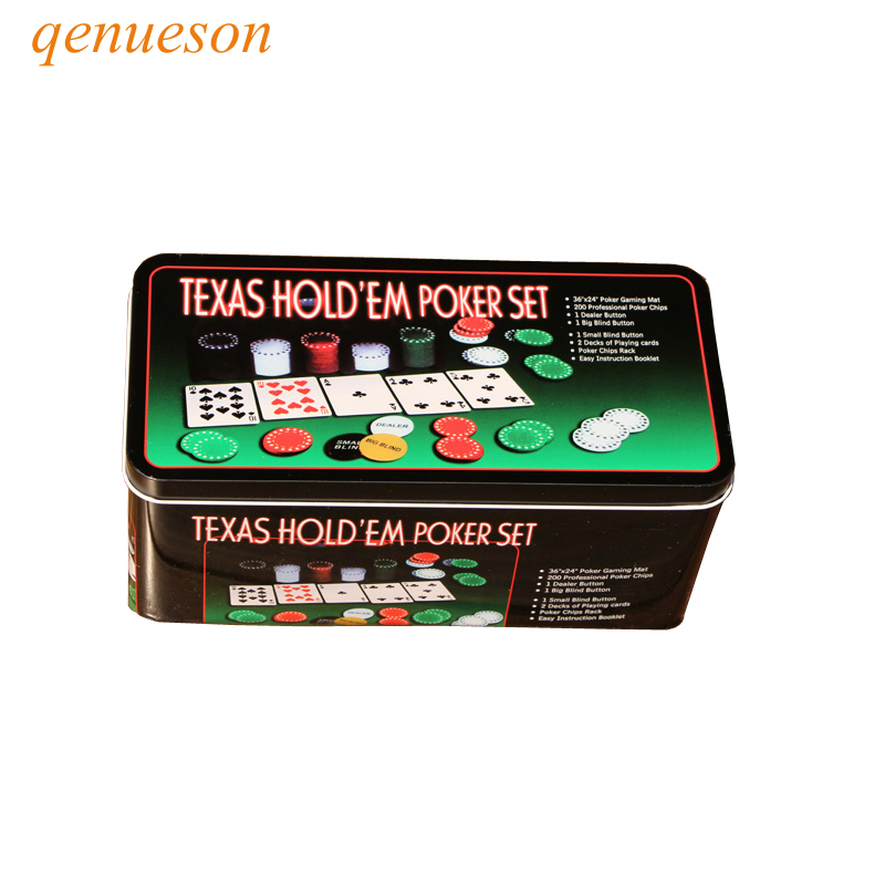 Nouvelle Super affaire 200 Texas Holdem Poker Set négociation Poker puce ensemble Blackjack Table tissu stores concessionnaire cartes de Poker qenueson