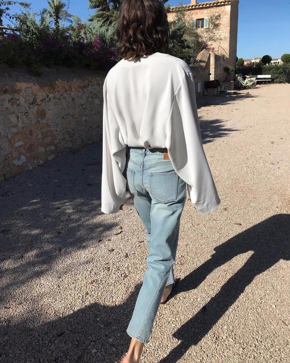 Pantalones de mezclilla lavados originales WISHBOP pantalones vaqueros rectos de aclarado trenzado de costura hasta el tobillo Pantalones de mujer 2019SS-in Pantalones vaqueros from Ropa de mujer    1