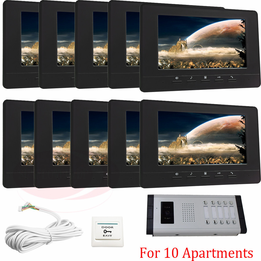 10 Units Apartment Video Door Phone Home Video Intercom Camera Intercom IR Night Vision Doorbell for 10 Different Apartments