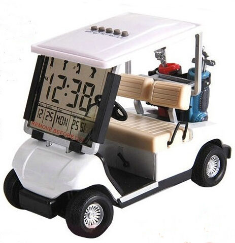 LCD Display Creative Mini Golf Cart Clock Race Souvenir Novelty Assorted color newest mini golf cart clock desktop golf gift