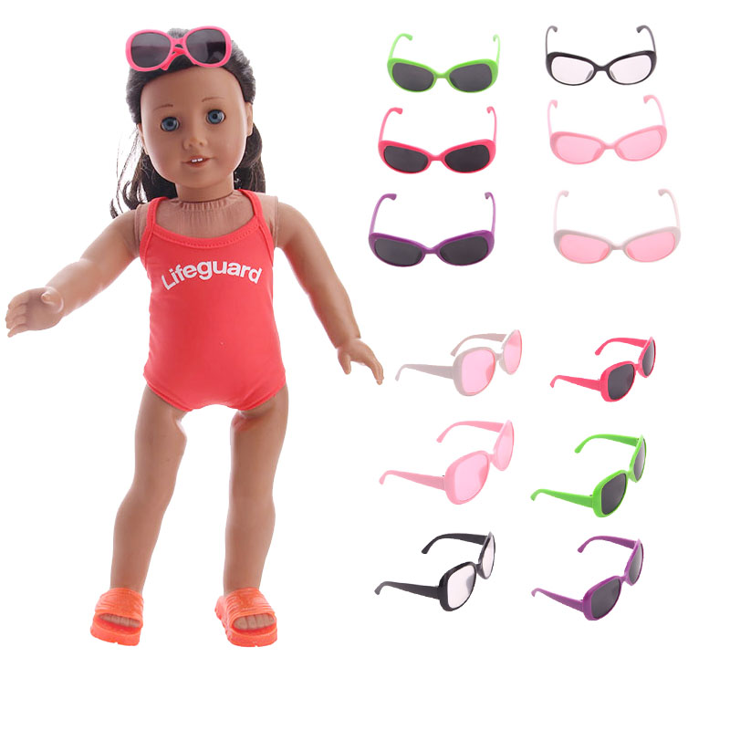 15 Colors Doll Sunglasses Solid Color Swimming Sunglasses For 18 Inch American Doll & 43 Cm Born Doll For Generation Girl`s Toy