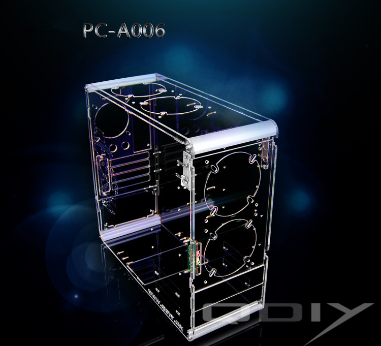 QDIY PC-A006M Vertical Transparent Châssis Acrylique Personnalisé Boîtier de L'ordinateur