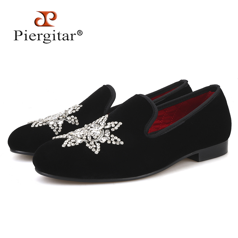 Piergitar 2019 New Style Black velvet Men Loafers with Silver Rhinestone Fashion Party and Banquet mens casual shoes slip-onPiergitar 2019 New Style Black velvet Men Loafers with Silver Rhinestone Fashion Party and Banquet mens casual shoes slip-on
