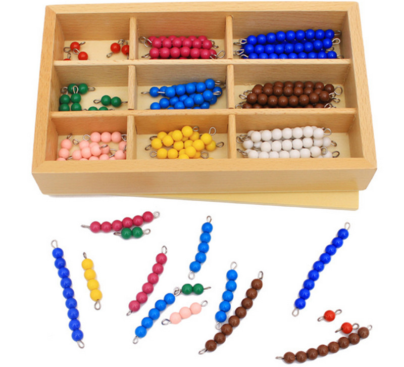 New Wooden Baby Toy Montessori  Mathematics Teaching Aids  Colorful  Beaded Stick Early Educational Toy Baby Gifts