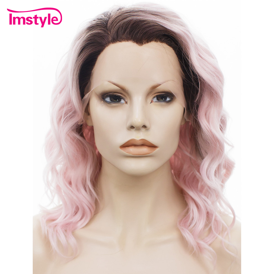 Imstyle Curly Ombre Pink Short Bob Wig Lace Front Wigs For Women 14 Dark Root Heat