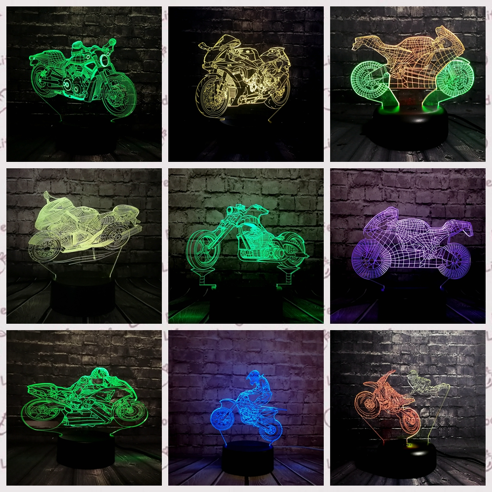 3D LED Night light USB Charge Battery Powered motorcycle Car Desk Table Lamp 7 Color change Gift remote Control Decorative3D LED Night light USB Charge Battery Powered motorcycle Car Desk Table Lamp 7 Color change Gift remote Control Decorative