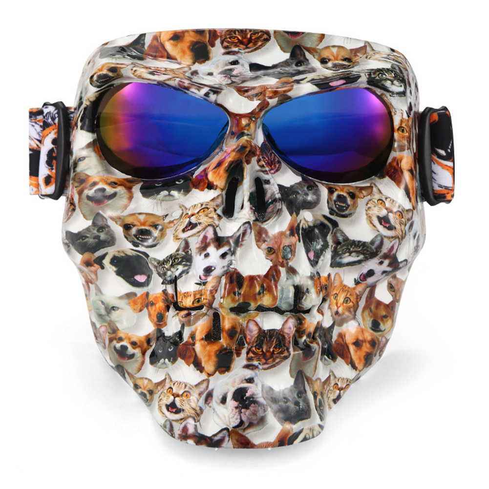 Skull Monster Motorcycle Mask Goggles Match Open Face Motorcycle Half Vintage Retro Helmets Outdoor Tactical War Game Face Mask