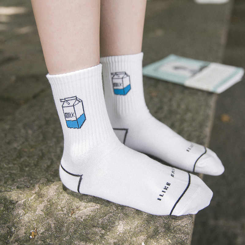 Fashion Autunm English Letter Cartoon Cute College Wind Cotton Casual Female Socks