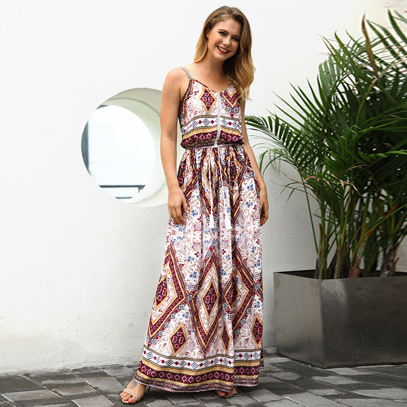 vintage open back spaghetti strap printed boho beach dress women summer casual long maxi dress plus size robe longue femme C3025 Платье