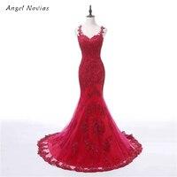 Robe De Soiree Mermaid Red Lace Long Evening Dress Party Elegant Vestido De Festa Sheer Back
