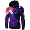 Новое Прибытие Мужчины Австралия флаг Толстовки хип-хоп мужчины с капюшоном Высокое Качество Осень Износ Пуловеры Мужчины Вскользь Толстовки