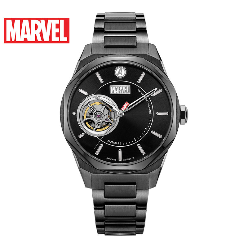 Marvel Avengers Full 316 Stainless Steel Hollow Automatic Waterproof Watches Gold Mechanical Disney Captain America Watch Unisex