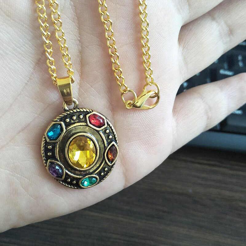 SG gorąca sprzedaż Avengers 3 Thanos nieskończona moc Gauntlet naszyjniki z kryształem wisiorki złoty naszyjnik typu choker butelka otwarty brelok mężczyźni Lady prezent