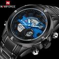 Homens relógios dupla afixação relógio do esporte led digital relógios naviforce marca de luxo de aço à prova d' água relógio de pulso de quartzo reloj hombr