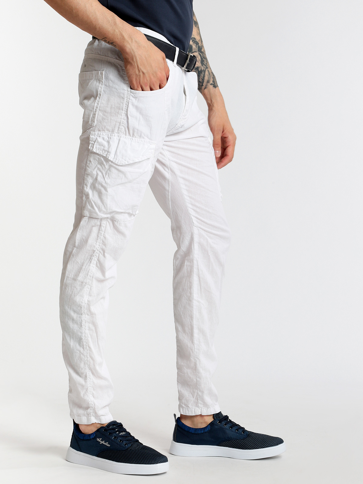 CALEB Cargo Pants Blend Linen And Cotton