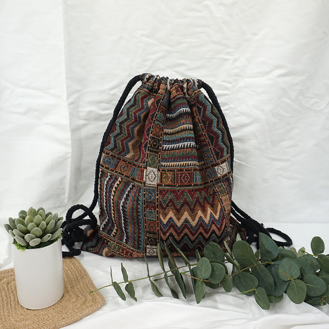 d5c14831aae LilyHood Women Fabric Backpack Female Gypsy Bohemian Boho Chic Aztec Ibiza Tribal  Ethnic Ibiza Brown Drawstring Rucksack Bags. Previous  Next