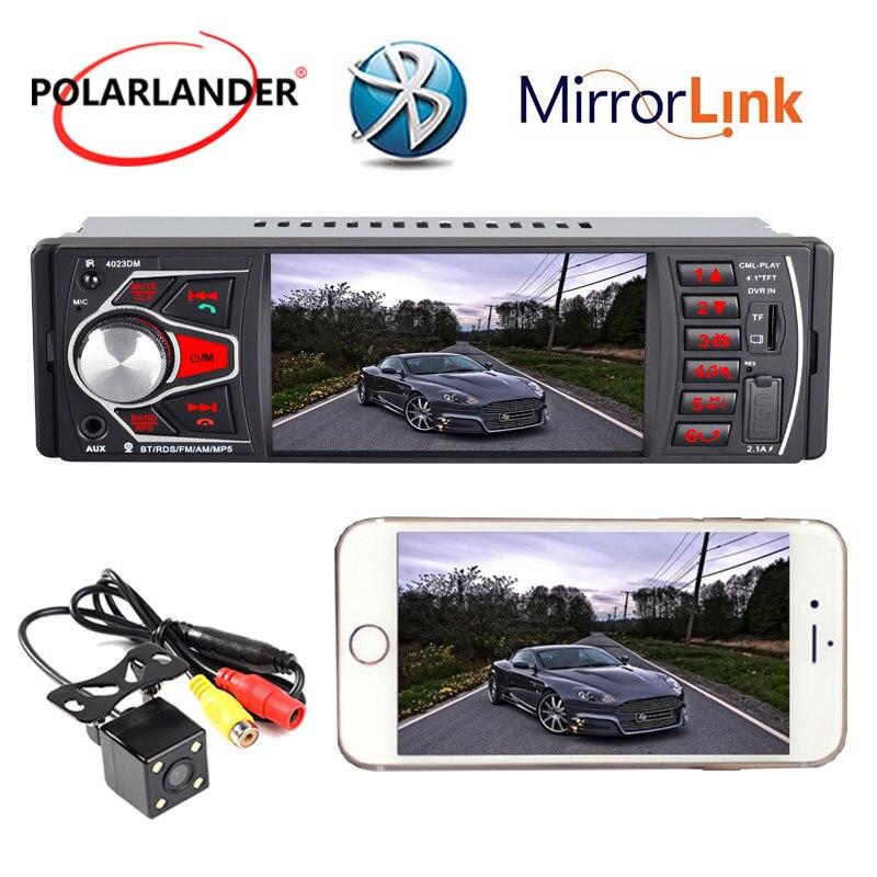 Autoradio Bluetooth 1 DIN audio pour voiture Radio FM TF USB SD Entrée AUX 4.1 ''lien miroir Radio hd cassette lecteur lumières colorées MP5