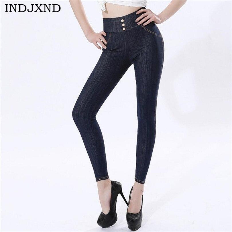 INDJXND Fashion 2019 Occident Women Cotton Pocket Imitation Jeans Leggings High Waist Nine Points Skinny Elastic Trousers K213