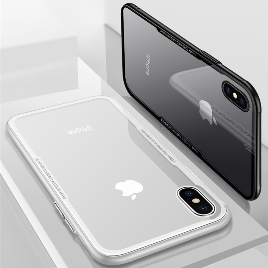2018 New Soft Glass Cover for iPhone 6S Case iPhone 7 Case Cute Silicone Frame Transparent Acrylic Back for iPhone 6 7 Plus Case 360 degrees