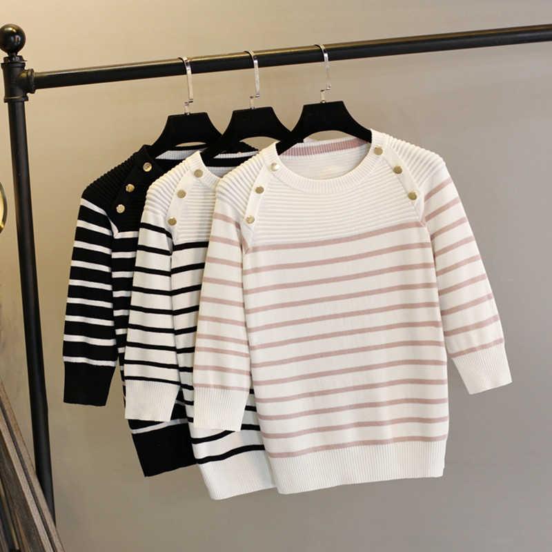 GIGOGOU женский пуловер свитер 2019 весна осень Половина рукава пуловеры с кнопками Украшенные полосатые трикотажные свитера женские топы
