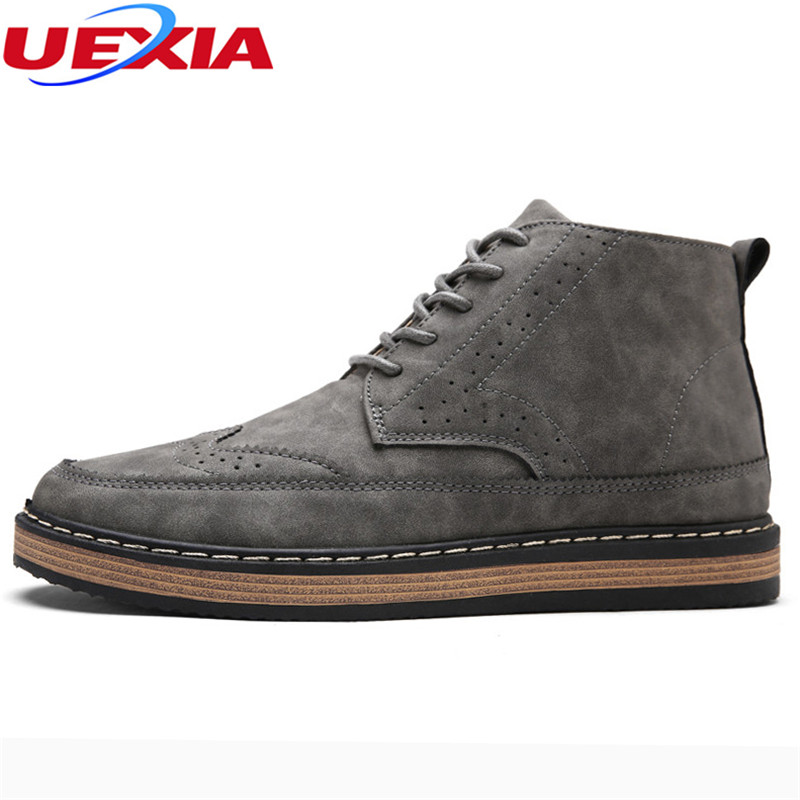 UEXIA Quality Brogue Shoes Men Boots Ankle High Top Martin Motorcycle Autumn Classic Office Casual Hand-sewn Chelsea Botas Homme mycolen new 2018 high top winter shoes men genuine leather chelsea boots brogue ankle motorcycle boots for male botas militar