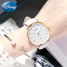 Mickey Woman White Color Gold Case Luxury Disney  Quartz Watch Ladies Fashion Trendy Leather Band Waterproof Ultrathin Calendar