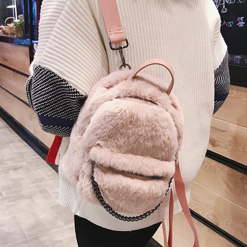 Women Faux Fur Backpack 2018 Winter Fashion Mini Schoolbag Pink Black Gray  Small Bag 39b4af580bc06