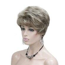 Strongbeauty женские парики Природный пушистый белый/рыжий короткие вьющиеся волосы Синтетические Полный парик