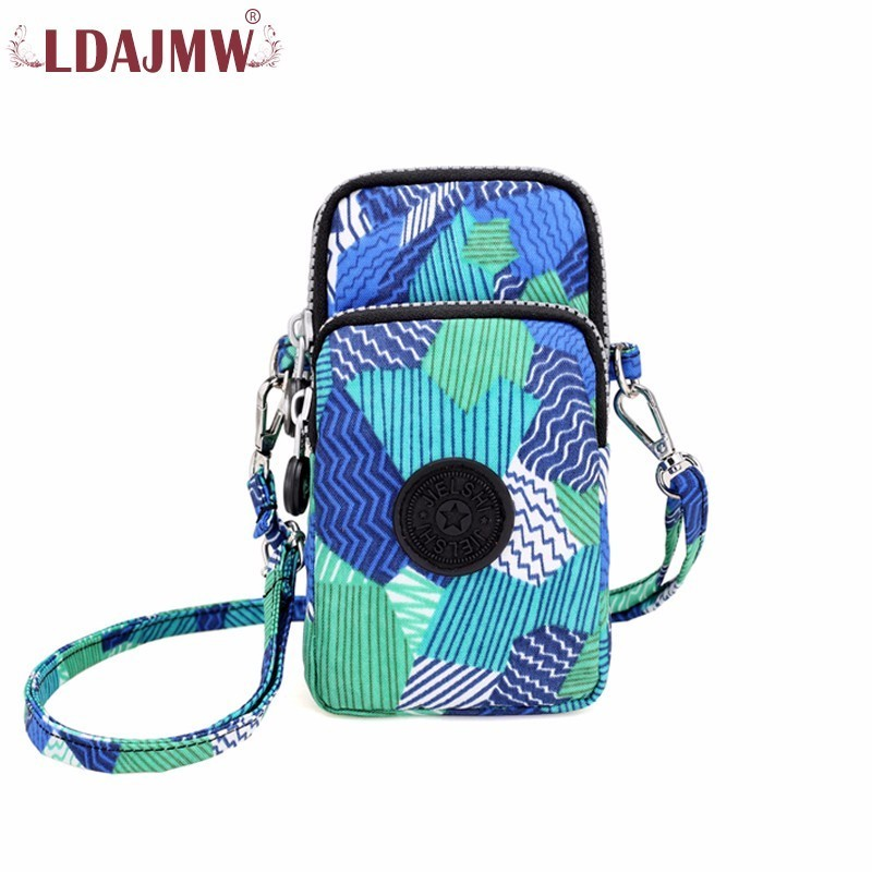 LDAJMW Men Women Mobile Phone Arm Bag Oxford Printing Travel Anti Theft Arm Band Case Mini Crossbody Bag Shoulder Bag