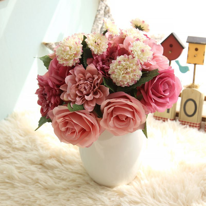Us 3 91 36 Off Wedding Supplies Silk Flower Bouquet Roses Dahlias Artificial Flowers Fake Bridal Room Bouquets Home Party Decorations In