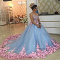 2017 Blue 3D Floral Masquerade Ball Gowns Handmade Elegant Flower Debutante Quinceanera Dresses Sweet Girls 15 16 Years Dress