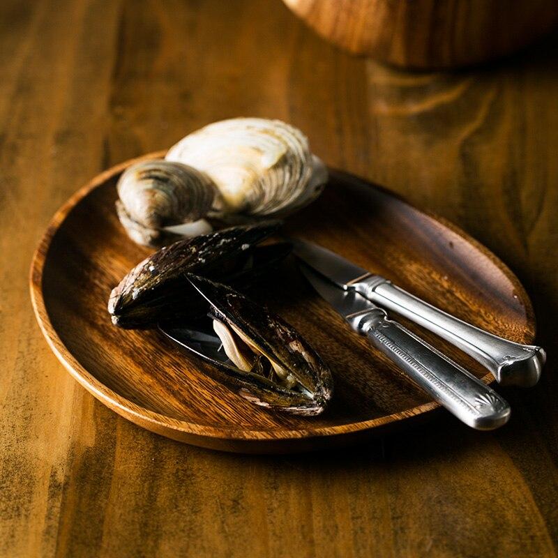 Plateau assiette à gâteau à Dessert en bois d'acacia | Assiette créative en bois d'acacia de Style japonais
