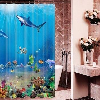 1800x1800mm Customized underwater world fish bathroom shower curtain waterproof thickening mildew bathroom curtain partition