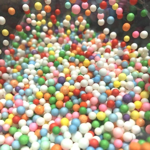 Candy Color Rainbow Foam Ball Beads Slime DIY Craft Stuff Mini Macarons Light Fake Sprinkles Dollhouse Bubblegum Decoden