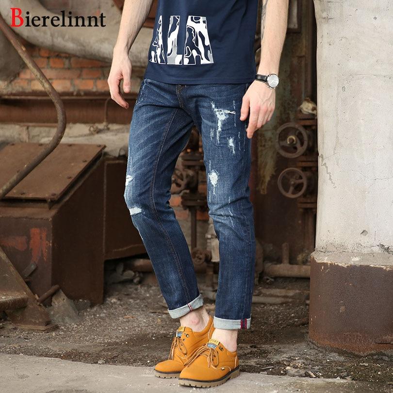 Bierelinnt Autumn & Winter Cotton Denim Good Quality Men Jeans,2017 New Elastic Ripped Hole Straight Slim Fit Jeans Men,860961