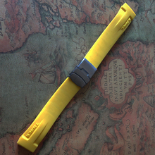 Yellow Watchband silicone rubber 20mm fit brand Sport watches T048417A special end with silver buckle deployment