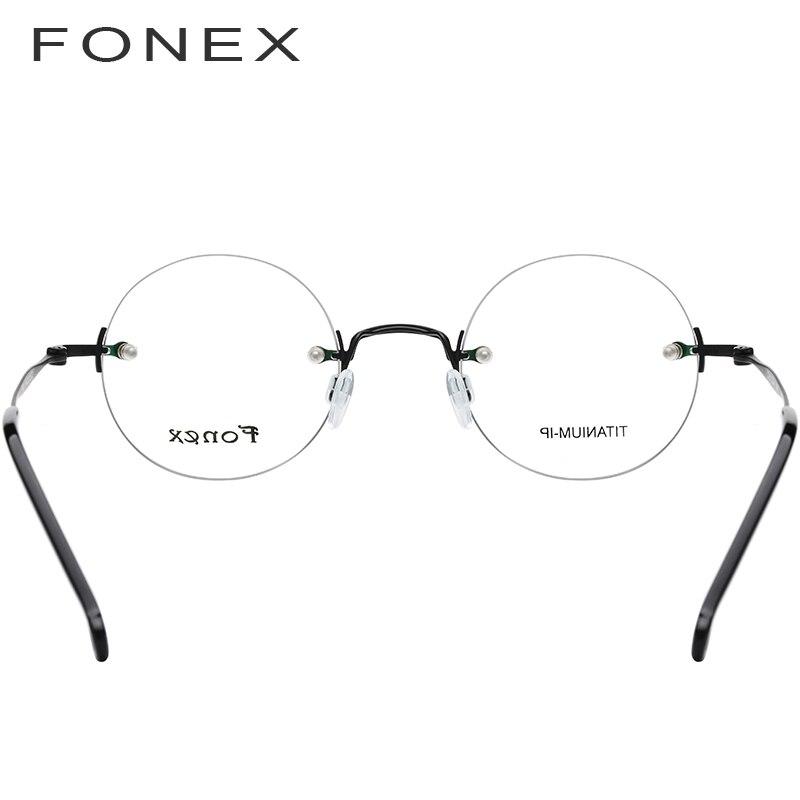 FONEX pur titane sans monture optique lunettes cadre hommes Vintage rond Prescription femmes myopie lunettes pour petit visage 9141 - 4