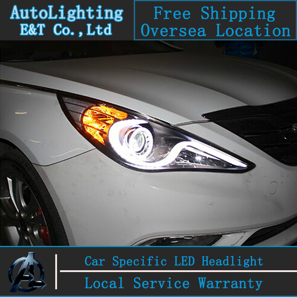 Car styling For Hyundai Sonata led headlight assembly 2011-2014 S-type head lamps Angel eye led H7 with hid kit 2 pcs.