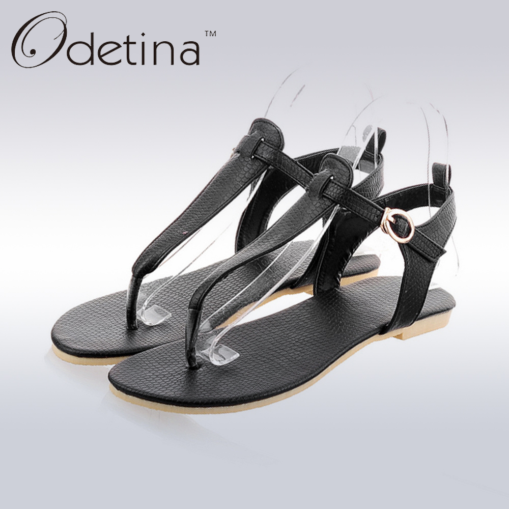 Odetina 2017 New Women Fashion Summer Flat Flip Flops Sandals Ankle Strap Thong Flat Sandals Buckle Beach Shoes Big Size 34-43 2015 summer new fashion and leisure solid cool women sandls flat buckle knot women sandal breathable comfort women sandals e309