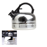 Clock Counting 60 Minute Kitchen Timer Alarm Mechanical Teapot Shaped Timer