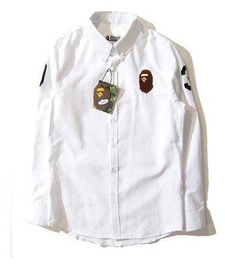 fashion brand bape camisa masculina long sleeve Solid white ...
