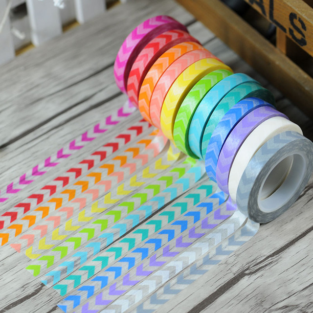 12x Right  Rainbow  Arrowhead  8mm*11m  Washi Masking Paper /Adhesive Decorative Diy Tape/ Scrapbooking Wholesale