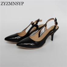 ZYZMNSYP Black red green beige slingbacks pointed toe Women thin heels patent Pumps summer woman casual shoes womens party shoes